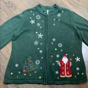 Christopher & Banks Santa Zip Cardigan Sweater